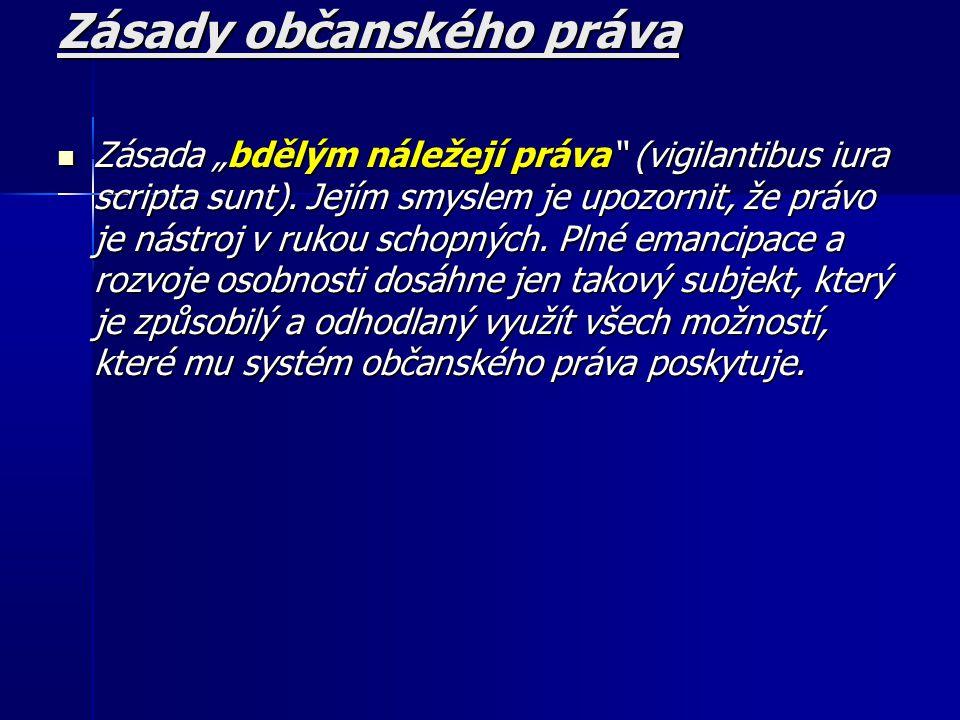 """Zásady občanského práva Zásada """"bdělým náležejí práva (vigilantibus iura scripta sunt)."""