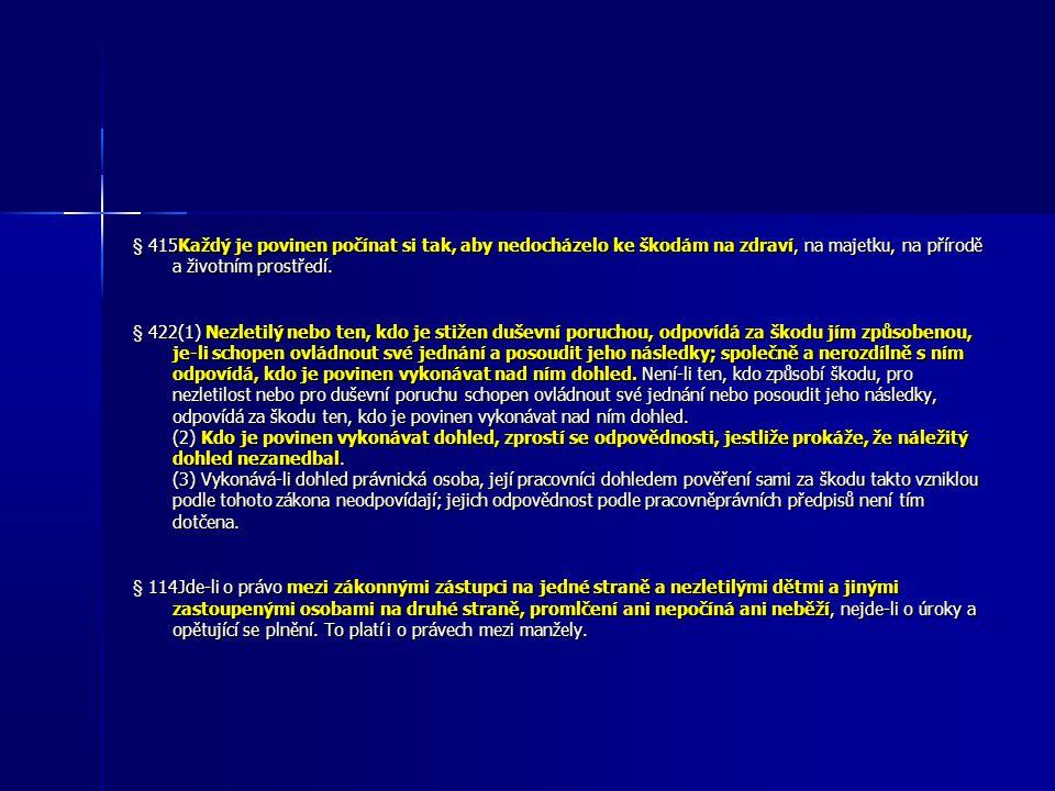 § 415Každý je povinen počínat si tak, aby nedocházelo ke škodám na zdraví, na majetku, na přírodě a životním prostředí.