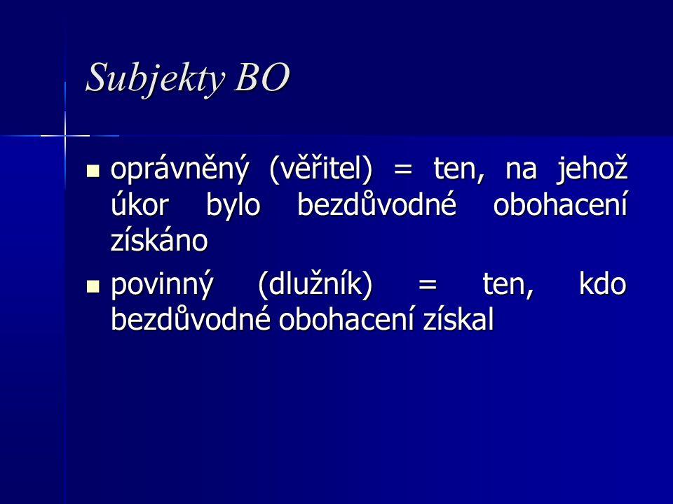 Subjekty BO oprávněný (věřitel) = ten, na jehož úkor bylo bezdůvodné obohacení získáno oprávněný (věřitel) = ten, na jehož úkor bylo bezdůvodné obohacení získáno povinný (dlužník) = ten, kdo bezdůvodné obohacení získal povinný (dlužník) = ten, kdo bezdůvodné obohacení získal