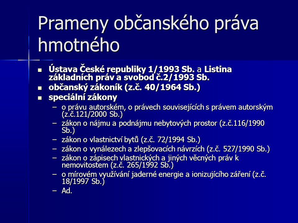 Prameny občanského práva hmotného Ústava České republiky 1/1993 Sb.