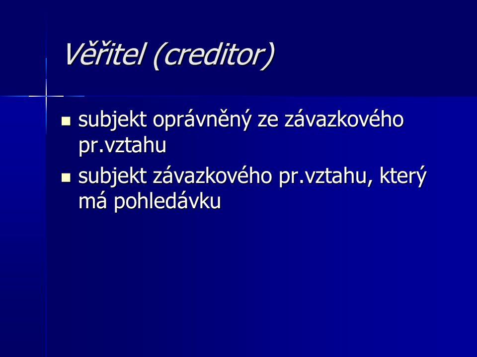 Věřitel (creditor) subjekt oprávněný ze závazkového pr.vztahu subjekt oprávněný ze závazkového pr.vztahu subjekt závazkového pr.vztahu, který má pohledávku subjekt závazkového pr.vztahu, který má pohledávku