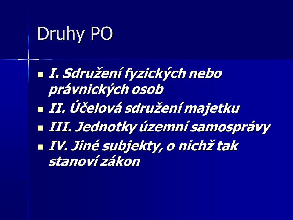 Druhy PO I. Sdružení fyzických nebo právnických osob I.