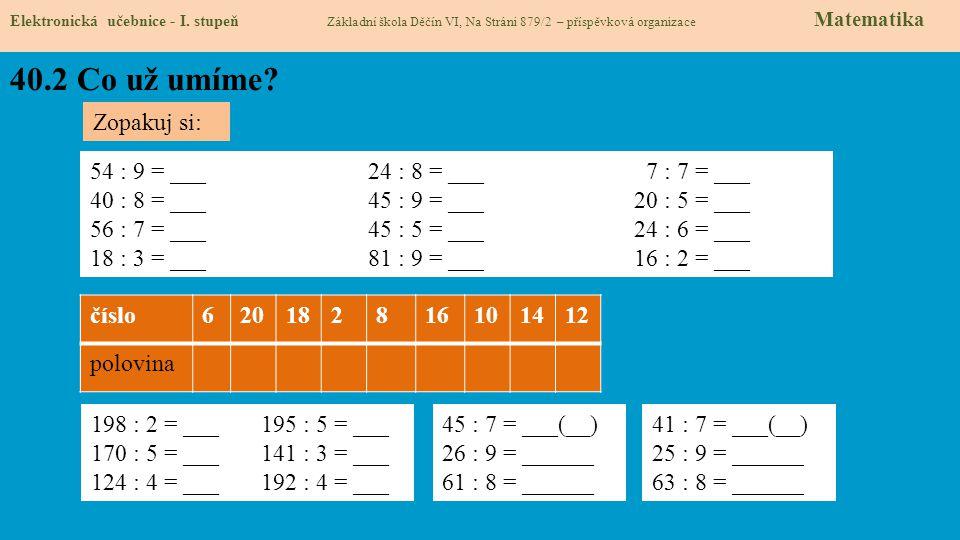 40.3 Co si řekneme nového Elektronická učebnice - I.