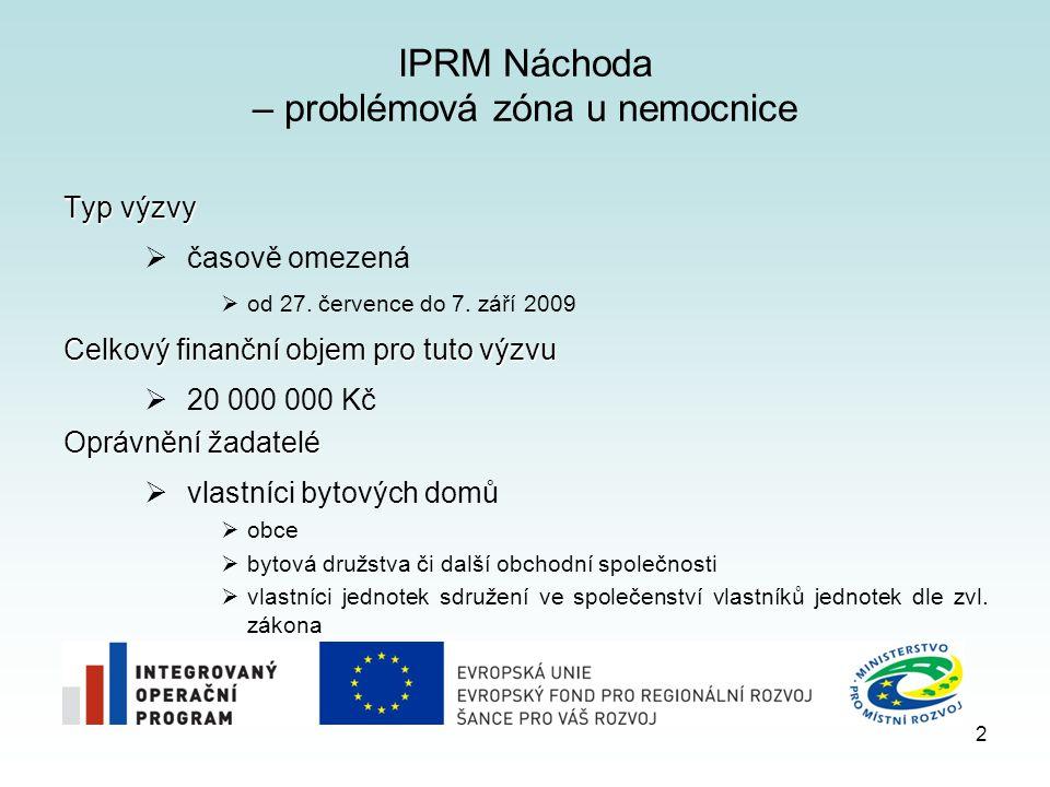 IPRM Náchoda – problémová zóna u nemocnice Typ výzvy  časově omezená  od 27.