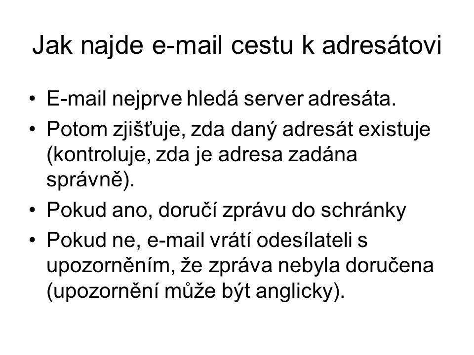 Jak najde e-mail cestu k adresátovi E-mail nejprve hledá server adresáta.