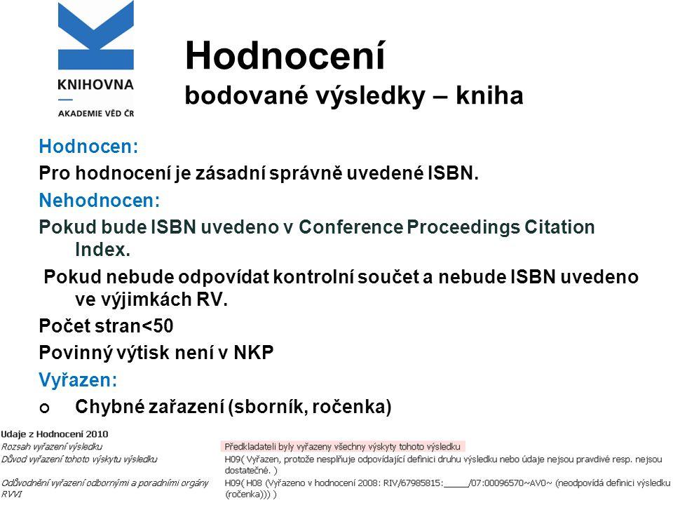 Hodnocení bodované výsledky – kniha Hodnocen: Pro hodnocení je zásadní správně uvedené ISBN.