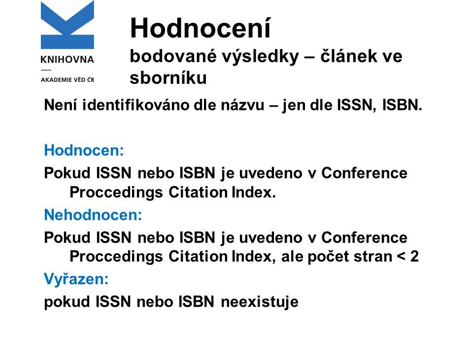 Hodnocení bodované výsledky – článek ve sborníku Není identifikováno dle názvu – jen dle ISSN, ISBN.