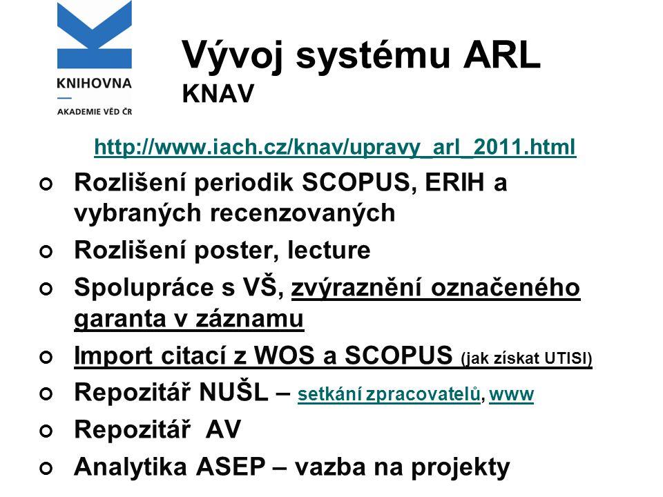 Vývoj systému ARL KNAV http://www.iach.cz/knav/upravy_arl_2011.html Rozlišení periodik SCOPUS, ERIH a vybraných recenzovaných Rozlišení poster, lectur
