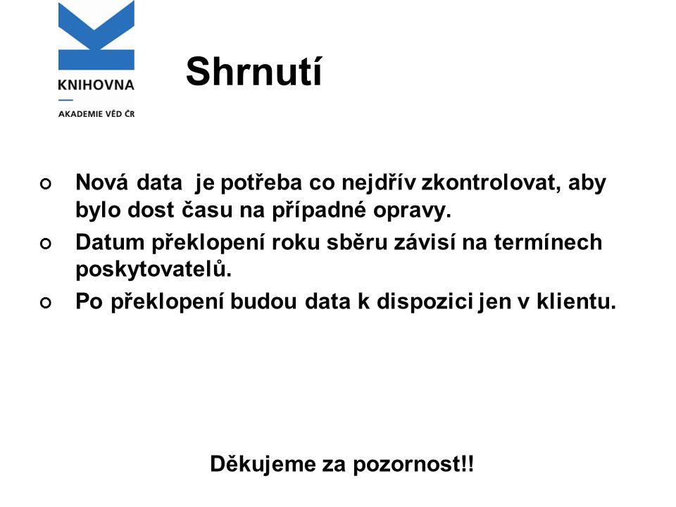 Shrnutí Nová data je potřeba co nejdřív zkontrolovat, aby bylo dost času na případné opravy.