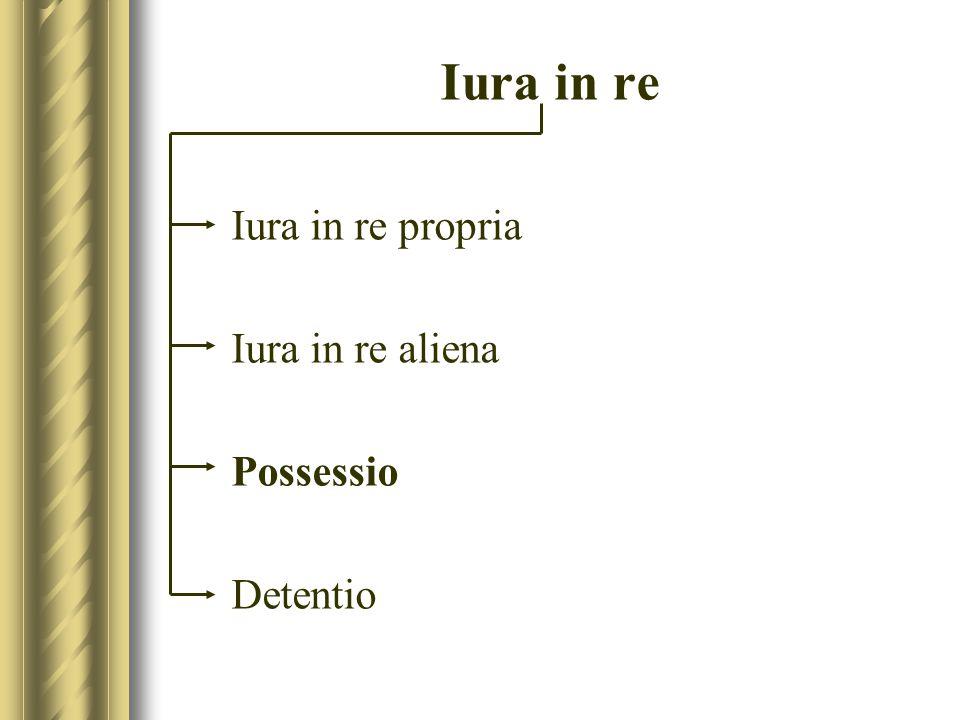 Iura in re Iura in re propria Iura in re aliena Possessio Detentio