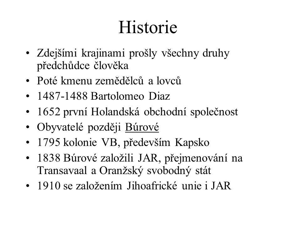 Historie Zdejšími krajinami prošly všechny druhy předchůdce člověka Poté kmenu zemědělců a lovců 1487-1488 Bartolomeo Diaz 1652 první Holandská obchod