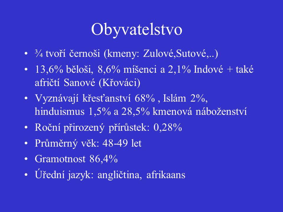 Obyvatelstvo ¾ tvoří černoši (kmeny: Zulové,Sutové,..) 13,6% běloši, 8,6% míšenci a 2,1% Indové + také afričtí Sanové (Křováci) Vyznávají křesťanství