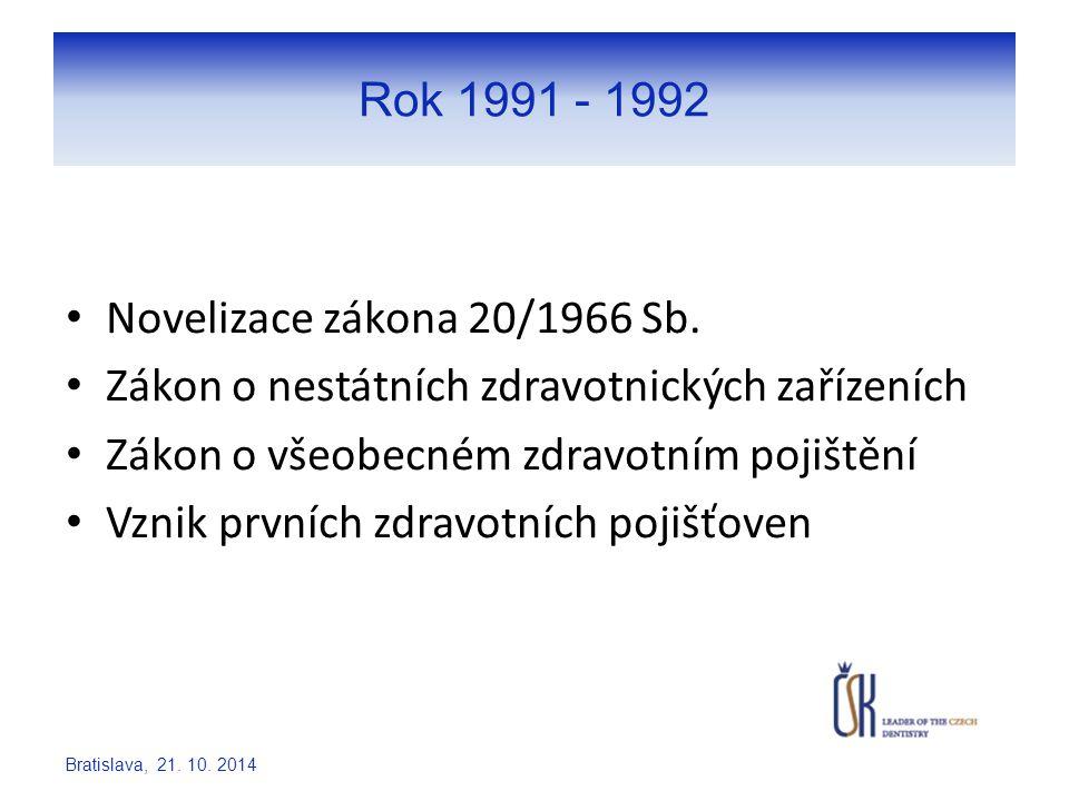 Rok 1991 - 1992 Novelizace zákona 20/1966 Sb. Zákon o nestátních zdravotnických zařízeních Zákon o všeobecném zdravotním pojištění Vznik prvních zdrav