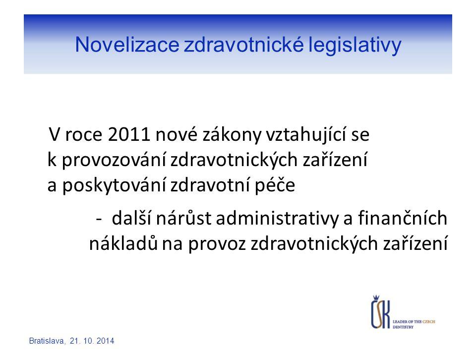 Novelizace zdravotnické legislativy V roce 2011 nové zákony vztahující se k provozování zdravotnických zařízení a poskytování zdravotní péče - další n