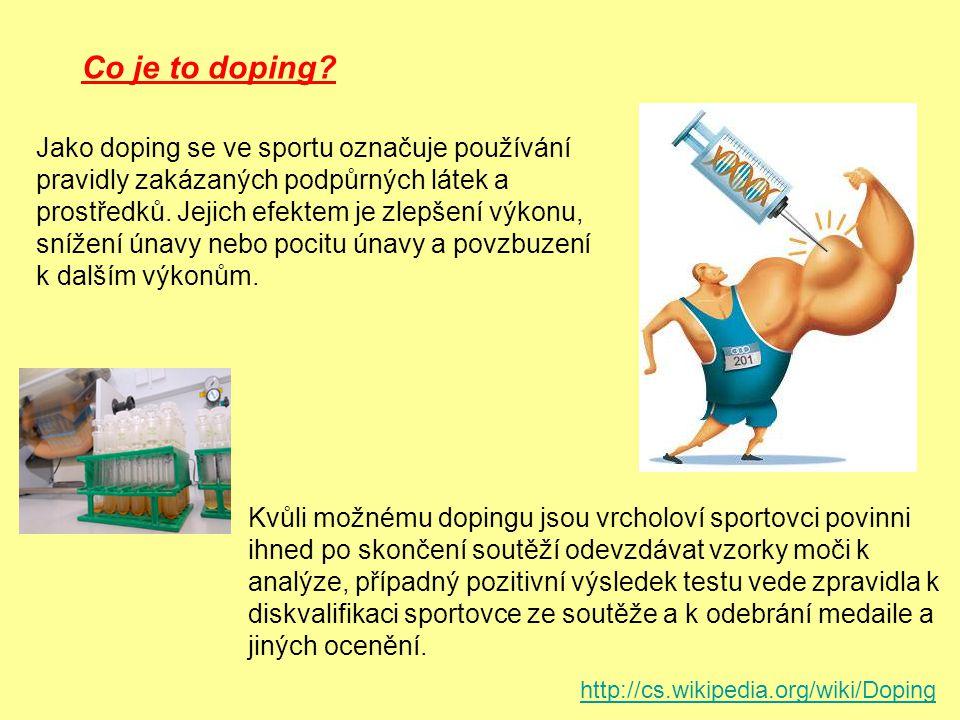 stimulancia narkotika anabolické steroidy diuretika peptidy glykoprteinové hormony krevní doping farmakologické, chemické a fyzikální manipulace alkohol cannabinoidy lokální anestetika kortikosteroidy beta-blokátory EPO (erythropoietin) THG (tetrahydrogestrinone) Druhy dopingových látek.