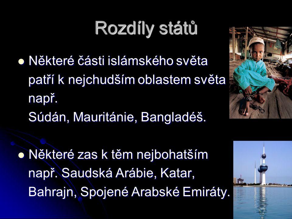 Rozdíly států Některé části islámského světa Některé části islámského světa patří k nejchudším oblastem světa patří k nejchudším oblastem světa např.