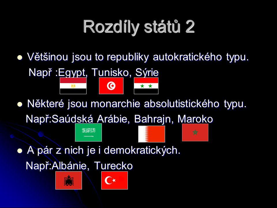 Rozdíly států 2 Většinou jsou to republiky autokratického typu. Většinou jsou to republiky autokratického typu. Např :Egypt, Tunisko, Sýrie Např :Egyp