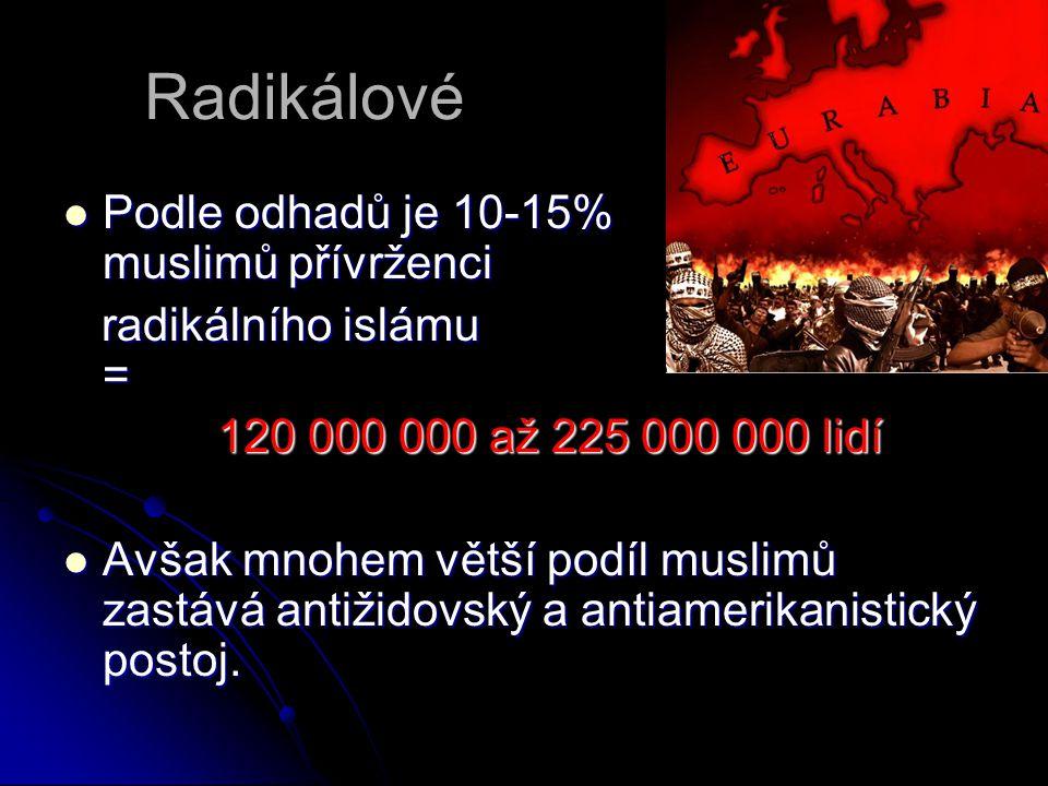 Radikálové Podle odhadů je 10-15% muslimů přívrženci Podle odhadů je 10-15% muslimů přívrženci radikálního islámu = radikálního islámu = 120 000 000 až 225 000 000 lidí 120 000 000 až 225 000 000 lidí Avšak mnohem větší podíl muslimů zastává antižidovský a antiamerikanistický postoj.