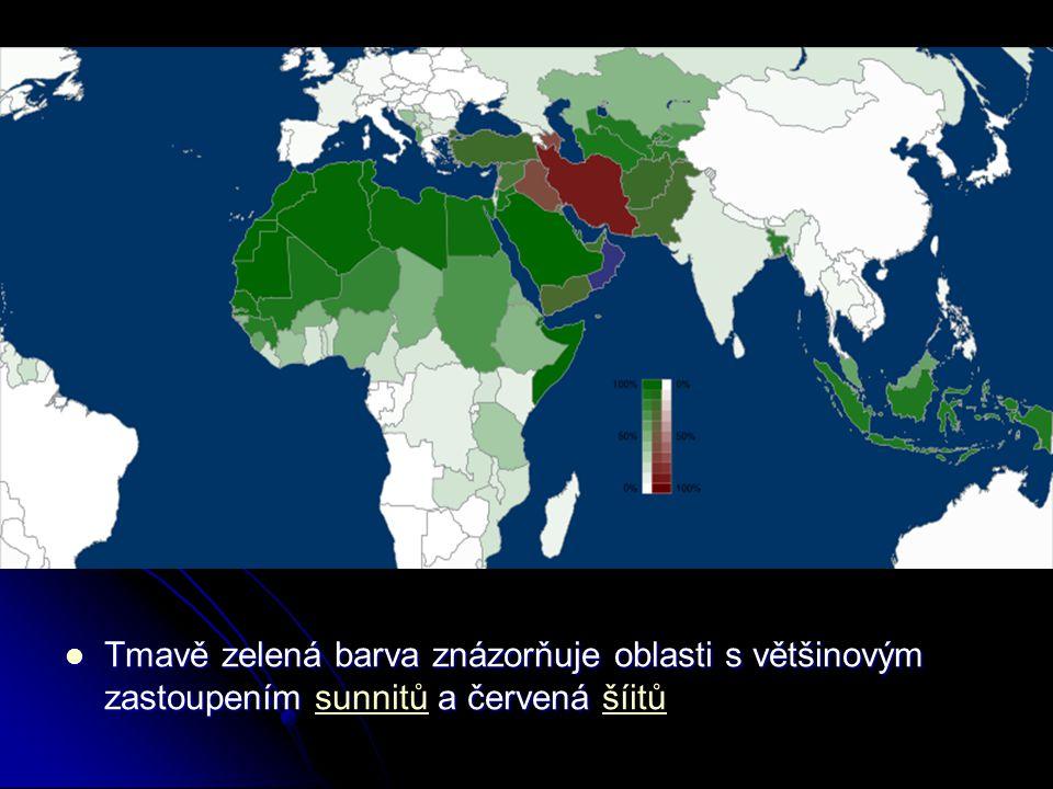 Tmavě zelená barva znázorňuje oblasti s většinovým zastoupením a červená Tmavě zelená barva znázorňuje oblasti s většinovým zastoupením sunnitů a červ