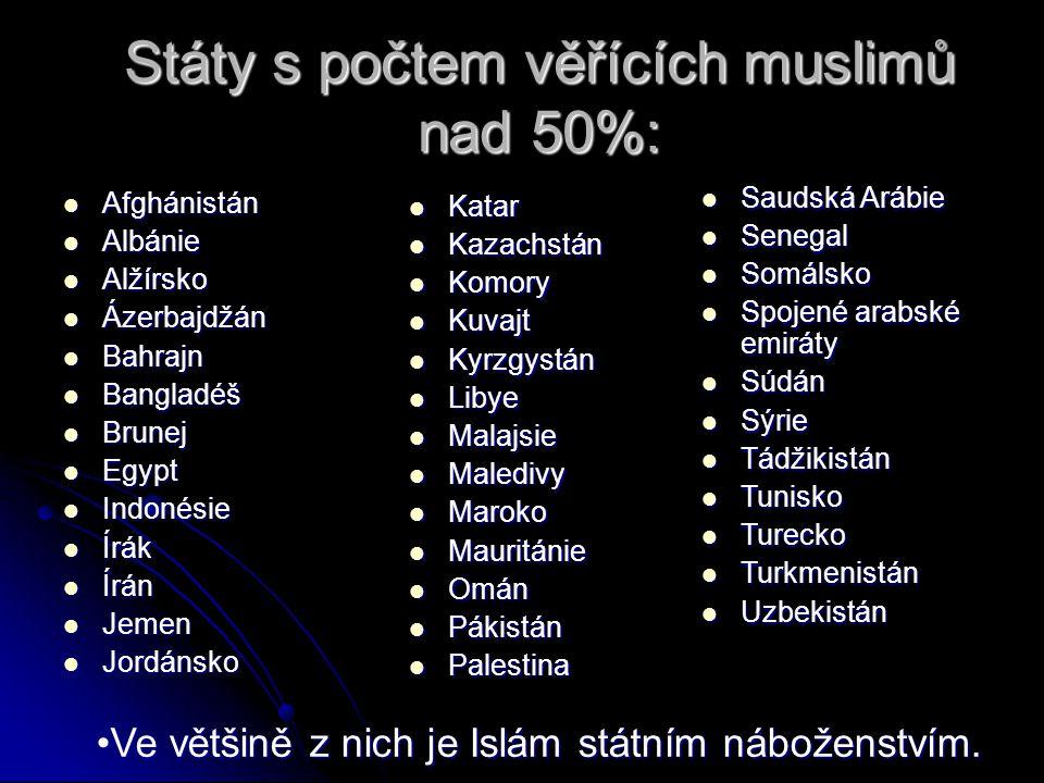 Státy s počtem věřících muslimů nad 50%: Afghánistán Afghánistán Albánie Albánie Alžírsko Alžírsko Ázerbajdžán Ázerbajdžán Bahrajn Bahrajn Bangladéš B