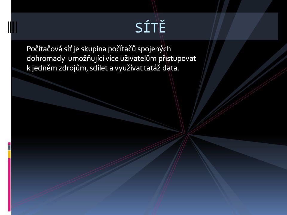 Počítačová síť je skupina počítačů spojených dohromady umožňující více uživatelům přistupovat k jedněm zdrojům, sdílet a využívat tatáž data.
