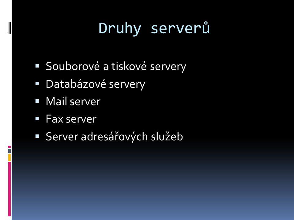 Druhy serverů  Souborové a tiskové servery  Databázové servery  Mail server  Fax server  Server adresářových služeb