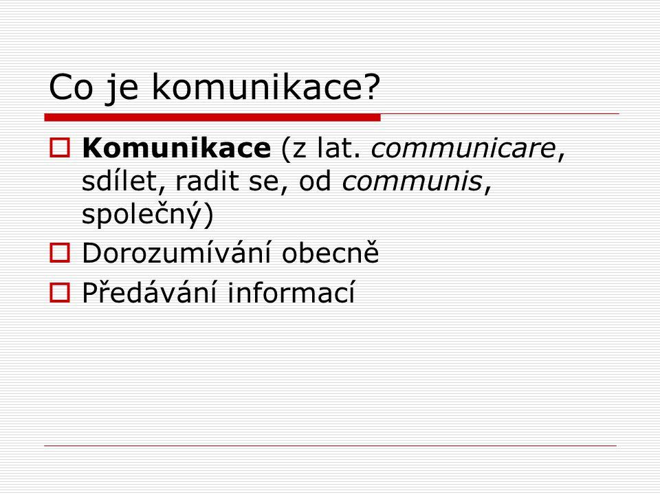 Co je komunikace?  Komunikace (z lat. communicare, sdílet, radit se, od communis, společný)  Dorozumívání obecně  Předávání informací