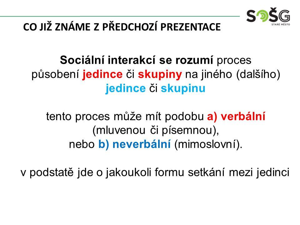 Sociální interakcí se rozumí proces působení jedince či skupiny na jiného (dalšího) jedince či skupinu tento proces může mít podobu a) verbální (mluvenou či písemnou), nebo b) neverbální (mimoslovní).