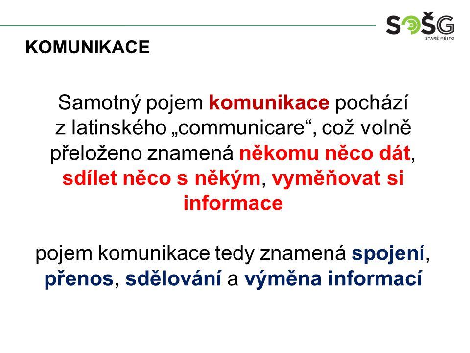 """Samotný pojem komunikace pochází z latinského """"communicare , což volně přeloženo znamená někomu něco dát, sdílet něco s někým, vyměňovat si informace pojem komunikace tedy znamená spojení, přenos, sdělování a výměna informací KOMUNIKACE"""