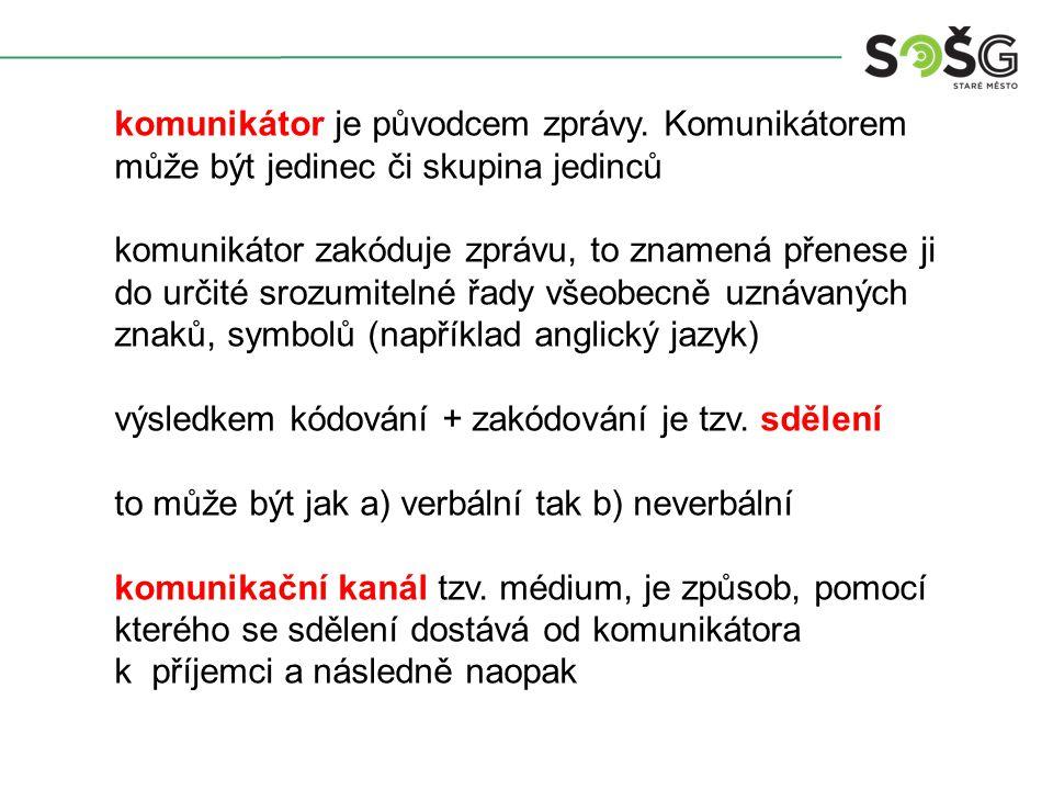 komunikátor je původcem zprávy.