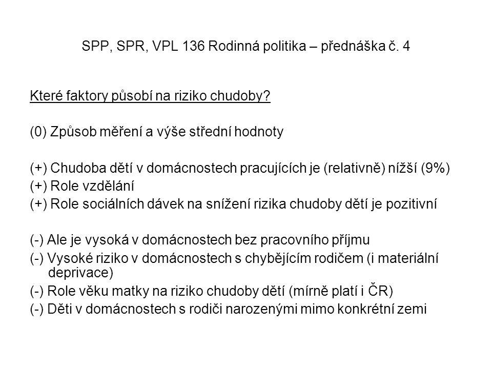 SPP, SPR, VPL 136 Rodinná politika – přednáška č. 4 Které faktory působí na riziko chudoby.