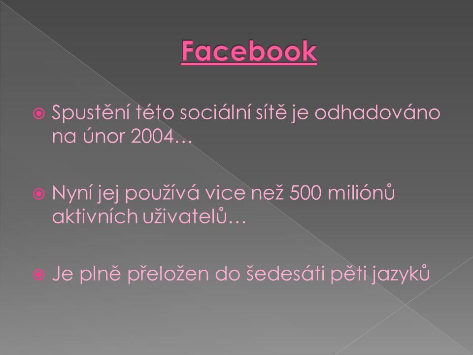  Spustění této sociální sítě je odhadováno na únor 2004…  Nyní jej používá vice než 500 miliónů aktivních uživatelů…  Je plně přeložen do šedesáti