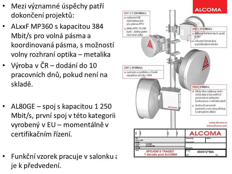 Mezi významné úspěchy patří dokončení projektů: ALxxF MP360 s kapacitou 384 Mbit/s pro volná pásma a koordinovaná pásma, s možností volny rozhraní optika – metalika Výroba v ČR – dodání do 10 pracovních dnů, pokud není na skladě.