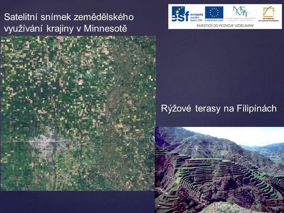 Satelitní snímek zemědělského využívání krajiny v Minnesotě Rýžové terasy na Filipínách