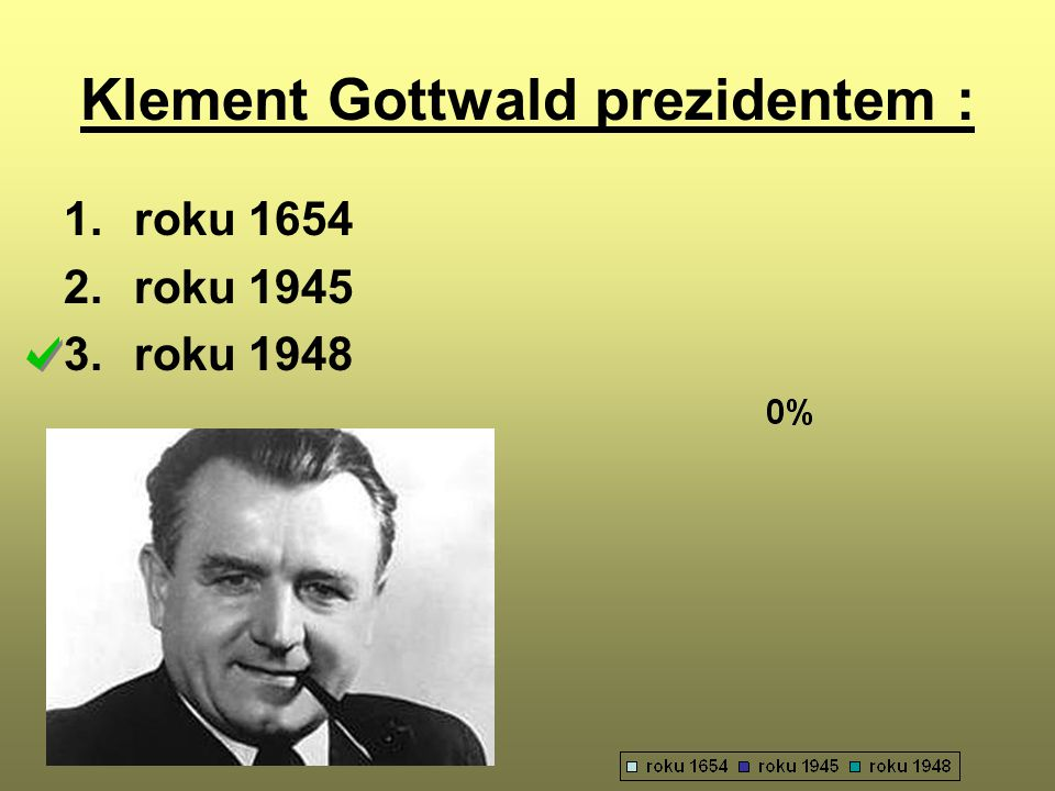 Klement Gottwald prezidentem : 1.roku 1654 2.roku 1945 3.roku 1948