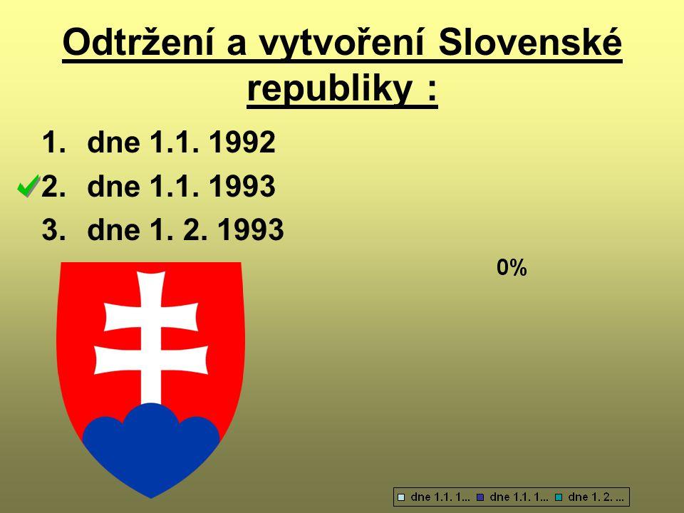 Odtržení a vytvoření Slovenské republiky : 1.dne 1.1. 1992 2.dne 1.1. 1993 3.dne 1. 2. 1993