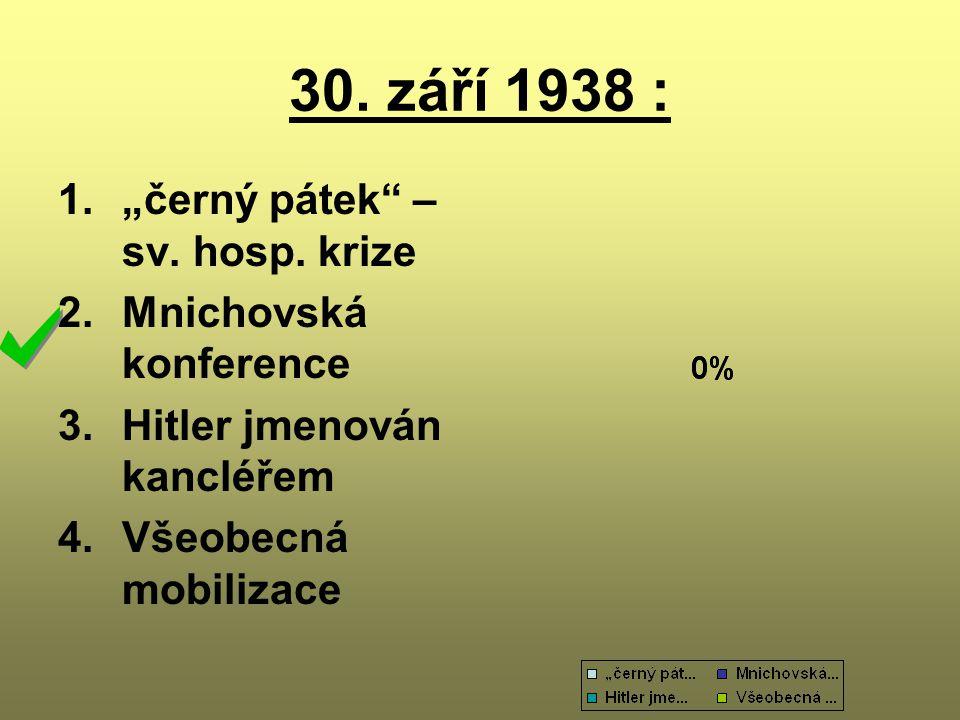 """30. září 1938 : 1.""""černý pátek"""" – sv. hosp. krize 2.Mnichovská konference 3.Hitler jmenován kancléřem 4.Všeobecná mobilizace"""
