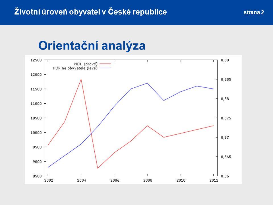 Orientační analýza strana 2 Životní úroveň obyvatel v České republice