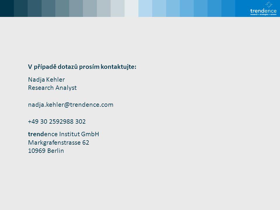 V případě dotazů prosím kontaktujte: Nadja Kehler Research Analyst nadja.kehler@trendence.com +49 30 2592988 302 trendence Institut GmbH Markgrafenstrasse 62 10969 Berlin