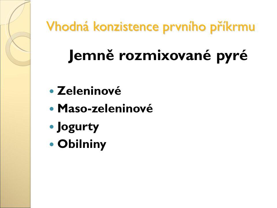 Vhodná konzistence prvního příkrmu Jemně rozmixované pyré Zeleninové Maso-zeleninové Jogurty Obilniny