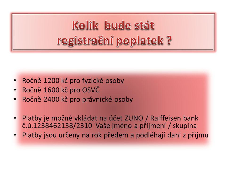 Ročně 1200 kč pro fyzické osoby Ročně 1600 kč pro OSVČ Ročně 2400 kč pro právnické osoby Platby je možné vkládat na účet ZUNO / Raiffeisen bank č.ú.1238462138/2310 Vaše jméno a příjmení / skupina Platby jsou určeny na rok předem a podléhají dani z příjmu