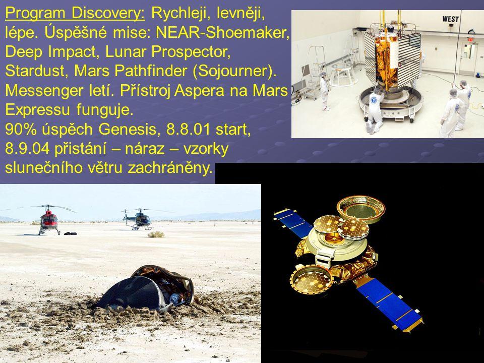 Program Discovery: Rychleji, levněji, lépe. Úspěšné mise: NEAR-Shoemaker, Deep Impact, Lunar Prospector, Stardust, Mars Pathfinder (Sojourner). Messen