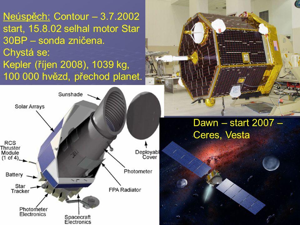 Neúspěch: Contour – 3.7.2002 start, 15.8.02 selhal motor Star 30BP – sonda zničena. Chystá se: Kepler (říjen 2008), 1039 kg, 100 000 hvězd, přechod pl