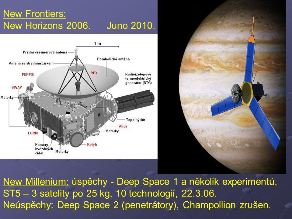 New Millenium: úspěchy - Deep Space 1 a několik experimentů, ST5 – 3 satelity po 25 kg, 10 technologií, 22.3.06. Neúspěchy: Deep Space 2 (penetrátory)