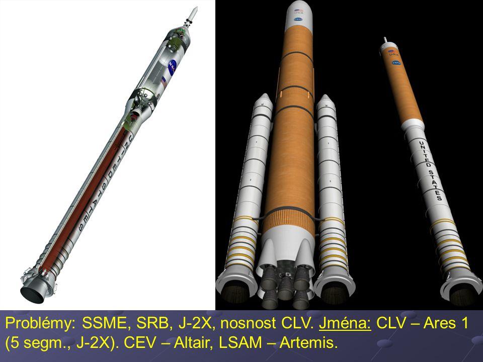 Problémy: SSME, SRB, J-2X, nosnost CLV. Jména: CLV – Ares 1 (5 segm., J-2X). CEV – Altair, LSAM – Artemis.