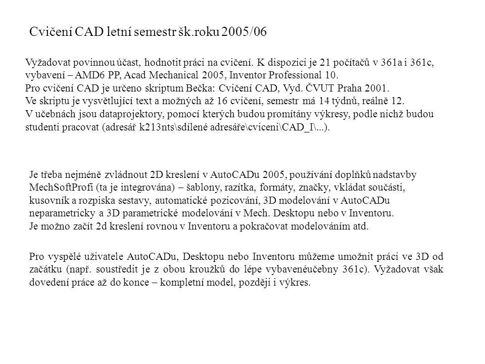 Cvičení CAD letní semestr šk.roku 2005/06 Vyžadovat povinnou účast, hodnotit práci na cvičení. K dispozici je 21 počítačů v 361a i 361c, vybavení – AM