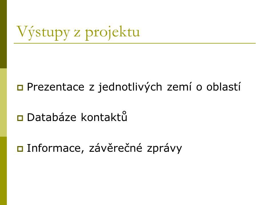Výstupy z projektu  Prezentace z jednotlivých zemí o oblastí  Databáze kontaktů  Informace, závěrečné zprávy