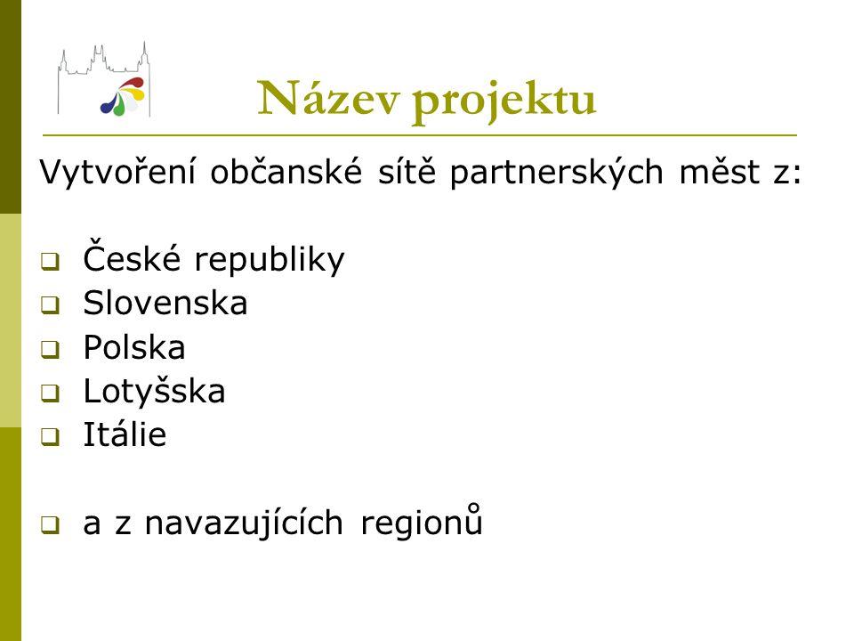 Název projektu Vytvoření občanské sítě partnerských měst z:  České republiky  Slovenska  Polska  Lotyšska  Itálie  a z navazujících regionů