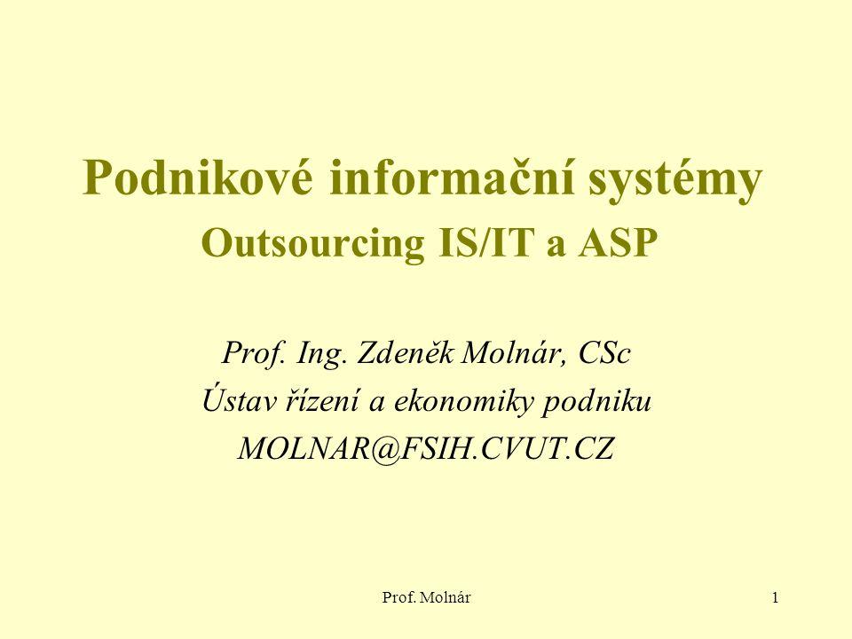 Prof. Molnár1 Podnikové informační systémy Outsourcing IS/IT a ASP Prof.