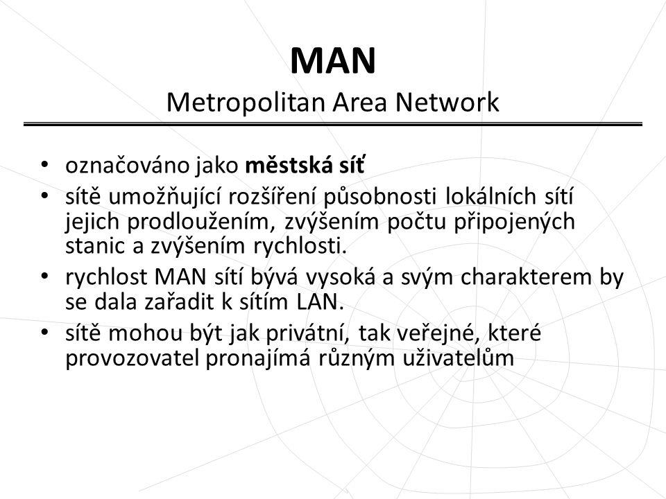 MAN Metropolitan Area Network označováno jako městská síť sítě umožňující rozšíření působnosti lokálních sítí jejich prodloužením, zvýšením počtu přip
